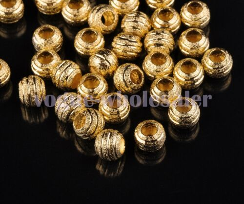 30pcs 6~8mm Round Carved Metal Alloy Spacer Beads Jewelry Making Charms Findings