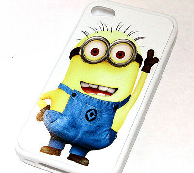 for iPhone 4 / 4S - White Yellow Cute Minions Hard TPU Rubber Gummy Case Cover