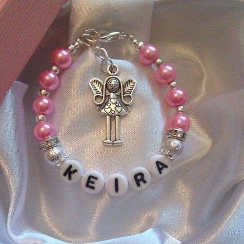 Nombre de Girl Personalizado Pulsera Pulsera De Angel De Hadas Caja De Regalo De Cumpleaños