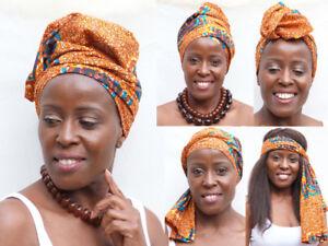 Gold/brown/ora<wbr/>nge 'TURTLE'  new hairband, turban, yoga, headtie, hijab, ankara A