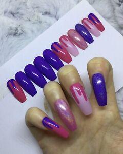 Pink Purple Holo Melt False Fake Extra Long Coffin Nails Set Ebay