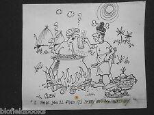 "CLIFFORD C LEWIS ""CLEW"" Original Pen & Ink Cartoon - Cannibal Cooking Man #142"