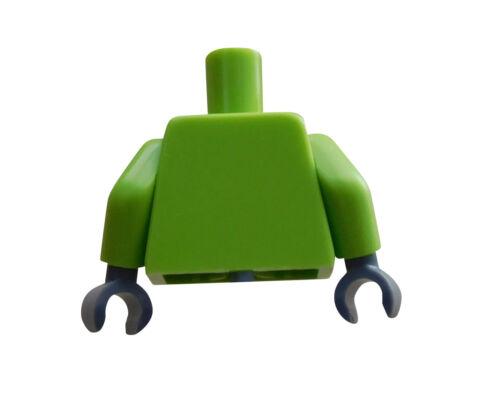 LEGO pneumotorace superiore del corpo lime grigio scuro mani City RACE 973pb1384c01 NUOVO