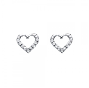Womens /& Girls 4MM TO 8MM Heart Shape Black CZ Solitaire Stud Earrings with 14K White Gold Plated