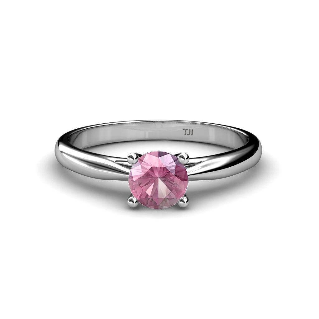 Round Pink Tourmaline Women Solitaire Engagement Ring 14K gold JP 79513