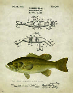 Vintage-Fishing-Lure-Patent-Art-Print-Largemouth-Bass-Fish-Heddon-Gifts-PAT209