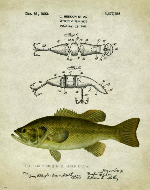 Vintage Fishing Lure Patent Art Print Largemouth Bass Fish Heddon Gifts PAT209
