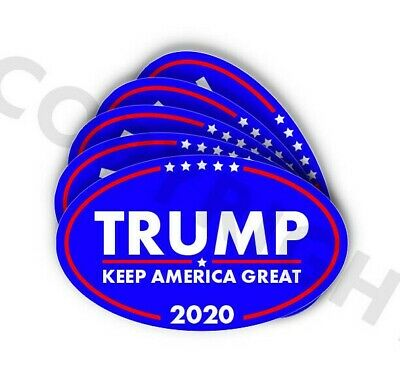 "2x Donald Trump Decal Stickers 3.0/"" x 2.8/"" logo red white /& blue logo head 2020"