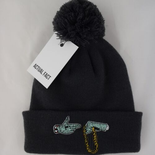Charcoal Beanie Up Roll Hat Bobble The Actual Hop Hip Jewels Pom Fact Run wnxqfHAvOP