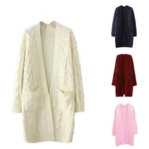 Women-039-s-Long-Sleeve-Open-Front-Chunky-Warm-Cardigans-Pullover-Sweater-Coat