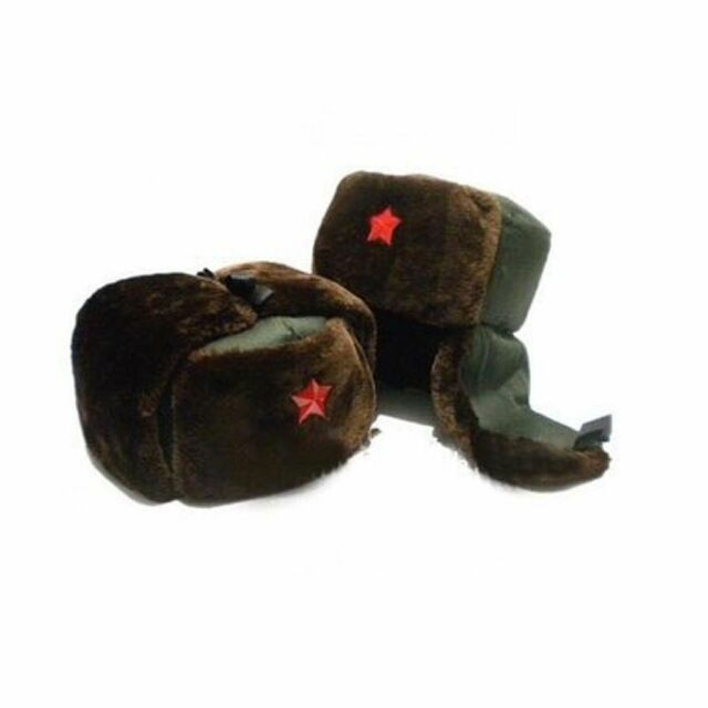 Chinese Russian Army Trooper Winter Hat Ushanka Warm Cap Red Star Badge