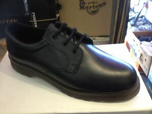 mens black leather air cushioned sole dm style shoe