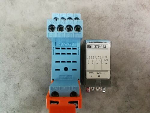 5 x Releco Non-Latching Relay RS 376-442 24V dc 5A  /&  Socket RS 437-783 *