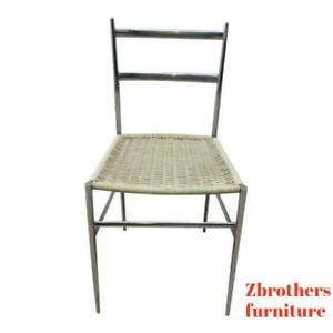 Vintage-Mid-Century-Chrome-Italian-Ladder-Back-Dining-Side-Desk-Chair