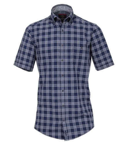 Casa Moda-Casual Fit-Dobby Uomo camicia manica corta a quadri in blu 982904400