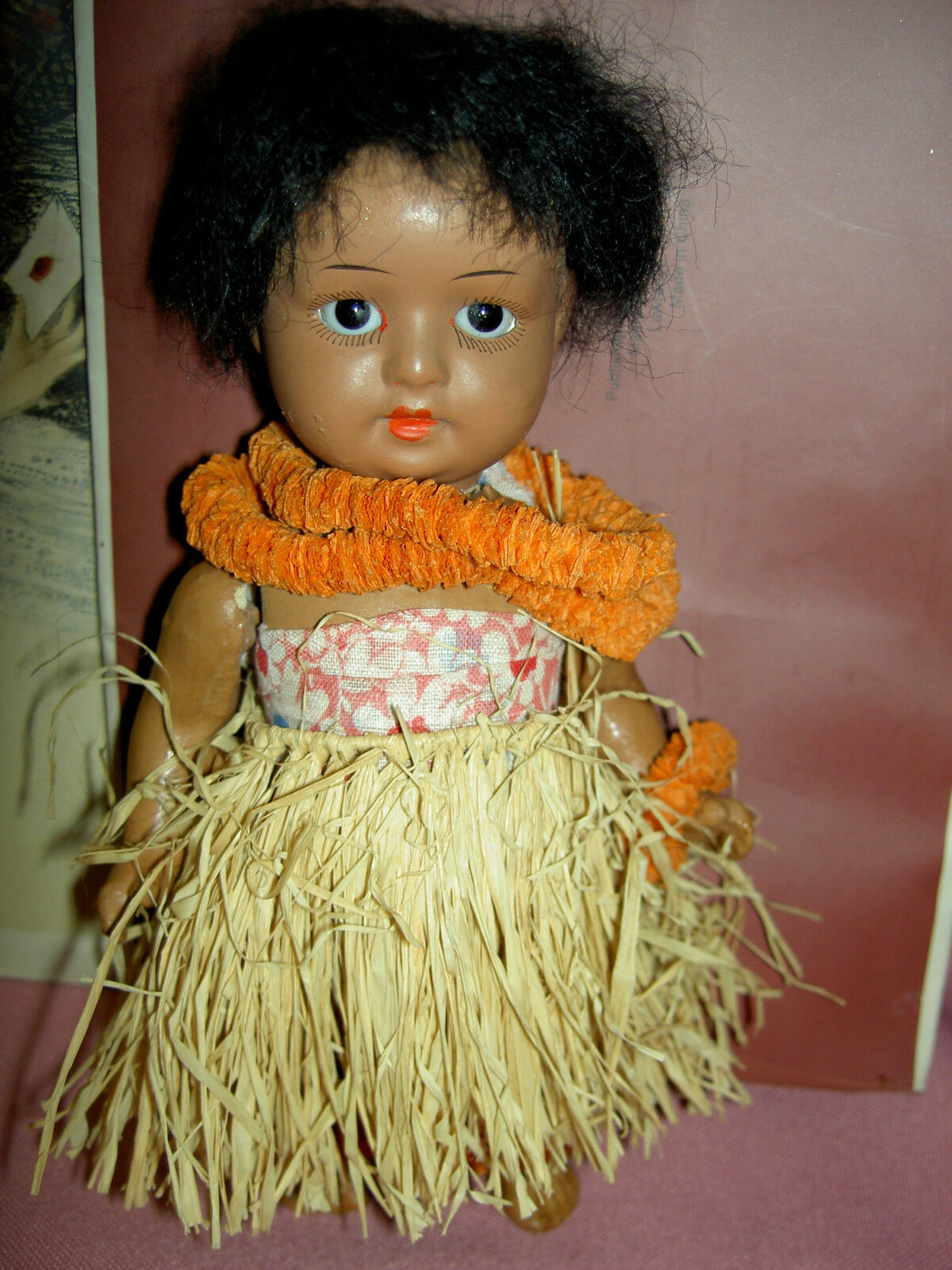 Adorable 6 1 2 , S&H German antique braun schwarz bisque j'td. HANNA Hawaiian doll