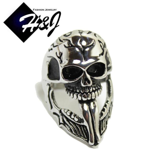 BIKER MEN's Stainless Steel Silver Black Huge Skull Face Ring