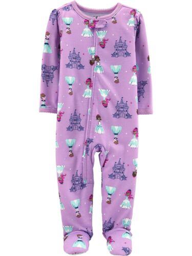 Baby Girls Purple PRINCESSES /& CASTLES Zipper Footie Pajamas 12 OR 18 Months