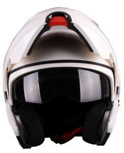 Klapphelm-Vito-Lanzetti-weiss-glaenzend-Doppelvisier-Sonnenvisier-ECE-Motorrad