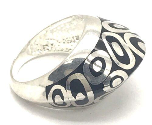 Flli Menegatti Silver 925 Modernist Geometric Black Enamel Pointed Abstract Ring