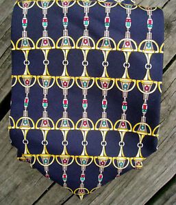 Paolo-Gucci-Navy-Silk-Tie-Equestrian-Red-Green-Gold-Jewel-Tones-Horse-Bit-Design