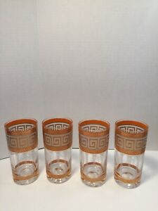 Greek-Key-Design-Orange-Gold-White-Frosted-Etch-Set-of-4-Highball-12oz-Tumblers
