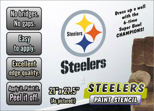 100% authentic c0d9d f71e5 Pittsburgh Steelers Paint Stencil for Walls