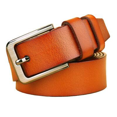 """New Men/'s Business Leisure Belts Septwolves Black Leather Belt Size 28/""""-45/"""""""