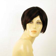 perruque femme 100% cheveux naturel courte méchée noir/rouge LAURA 1b410