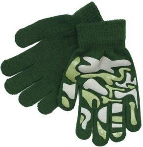 Boys-Girls-Kids-Children-039-s-Green-Camouflage-Warm-Winter-Grippy-Magic-Gloves-Xmas