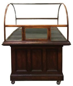 Antique-Original-Curved-Glass-Showcase-on-Oak-Cabinet
