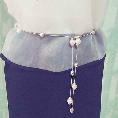 Womens Ladies Pearl Belt Casual Bead Thin Skinny Metal Waist Chain Dress Belt