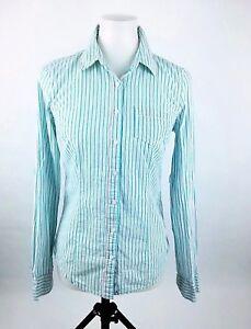 fdbb80d3 Aeropostale Womens Blouse Sz M Long Sleeve button Down Shirt Blue ...