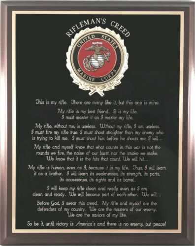Can be Personalized US MARINE CORPS GIFT ~ MARINE RIFLEMAN/'S CREED WALL PLAQUE
