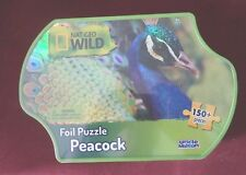 Nat Geo Wild, Foil Puzzle with Tin - Peacock - Uncle Milton - 150+ Pieces New!