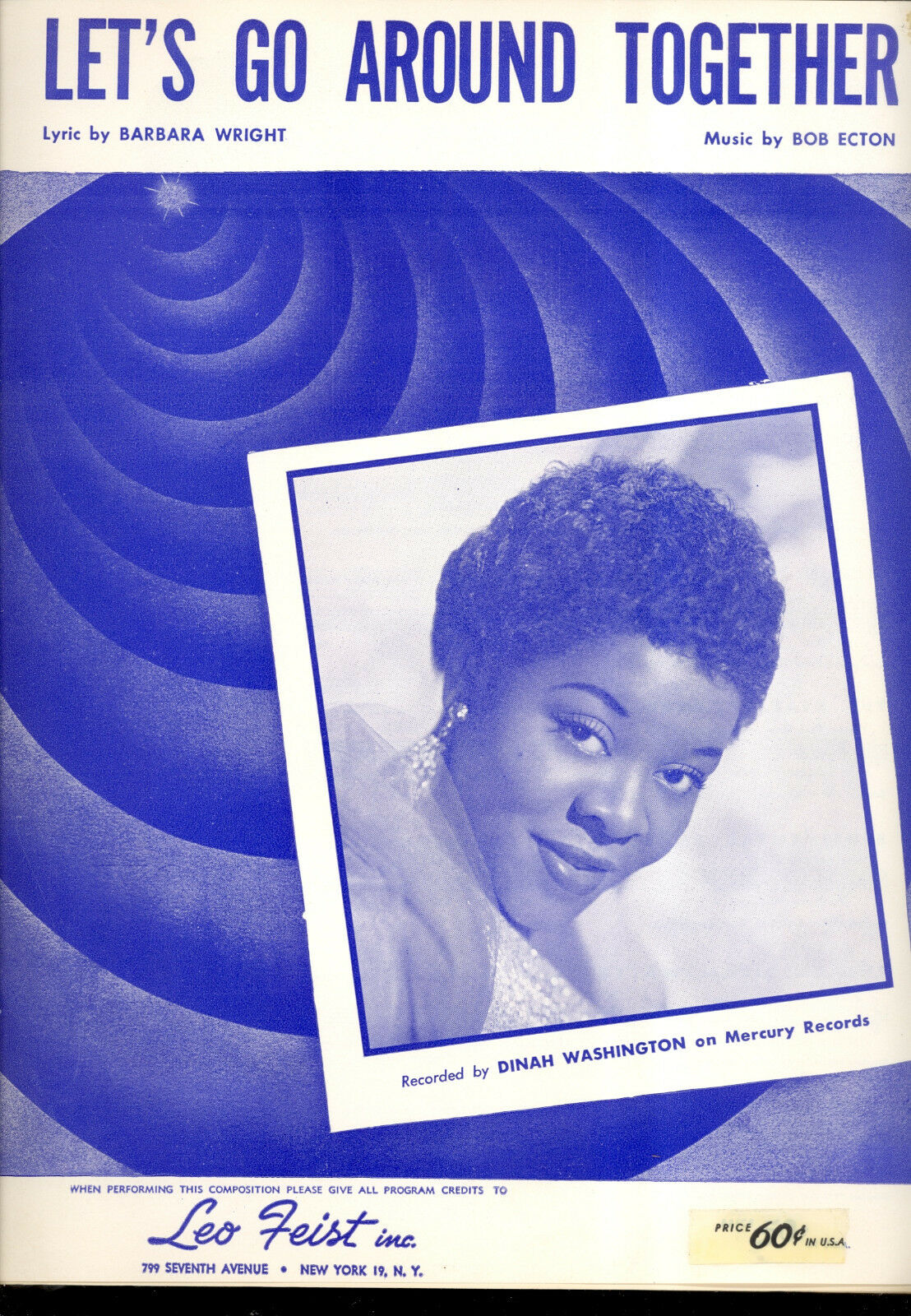 DINAH WASHINGTON Sheet Music  Let's Go Around Together  1955