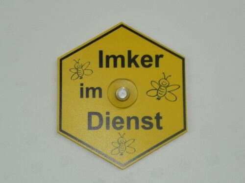 """Saugnapfschild  /""""Imker im Dienst/"""" Wabenform  15x13cm Imker,Imkerei"""