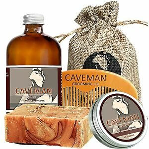 Precise Hand Crafted Caveman® Beard Oil Set Kit Beard Oil Treatments, Oils & Protectors Balm Free Beard Brush Shaving & Hair Removal