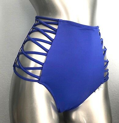 PINK Victorias Secret Matisse Blue Purple Strappy High Waist Bikini Bottom S M L