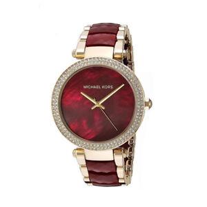 Detalles de Nuevo Michael Kors MK6427 Granate De Oro Rojo Acetato Cuarzo Reloj Para Mujer