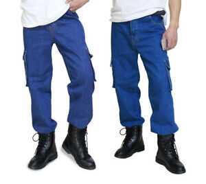 Mens-Casual-Loose-Jeans-Denim-Pant-Cargo-Work-Pants-Tactical-Trousers-Pockets