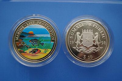 Original Somalia 10 Dollar Farbmünze1998 Marine Life Protection -meereslandschaft (er05) Im In- Und Ausland FüR Exquisite Verarbeitung, Gekonntes Stricken Und Elegantes Design BerüHmt Zu Sein