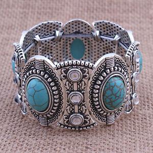 Vintage-Retro-Natural-Tuerkis-Armband-Tibet-Silber-breit-Armreif-Schmuck