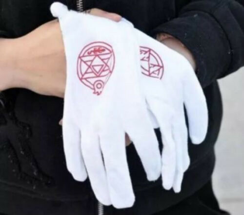 """Anime Fullmetal Alchemist Colonel Roy Mustang Edward Elric Cosplay Gloves 9/"""" New"""