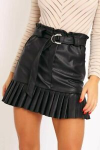 Womens-Ladies-Faux-Leather-Pleated-Belted-Mini-Skirt-8-14