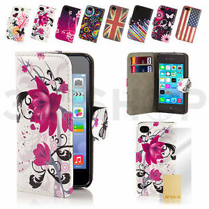 NEW-WALLET-LEATHER-CASE-COVER-FOR-APPLE-IPHONE-4-4S-5-5S-6-PLUS-SCREEN-PROTECTOR