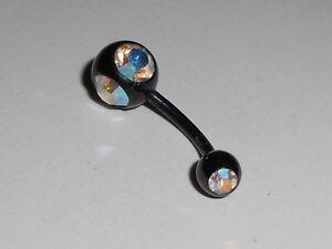 Piercing-Nombril-1-6-x-10-mm-Acier-anodise-Boule-noir-2strass-multicolor-PIE0308