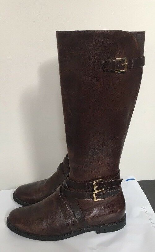"""Cole Haan N.Air Sole 16"""" Tall Leder Stiefel 7M Chestnut/Gold Great"""