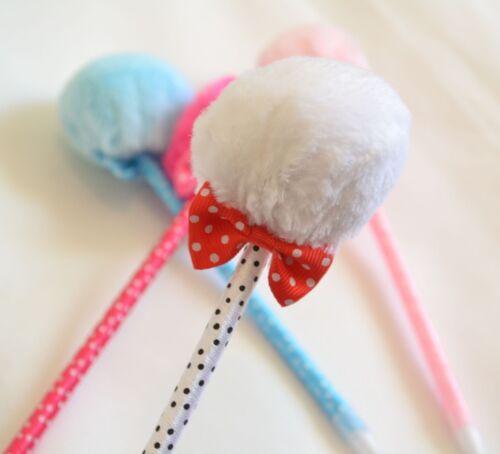 1 pc Lovely Cute Romantic Fluffy Ball Pen Ribbon Pen Princess Writing Kids Gift