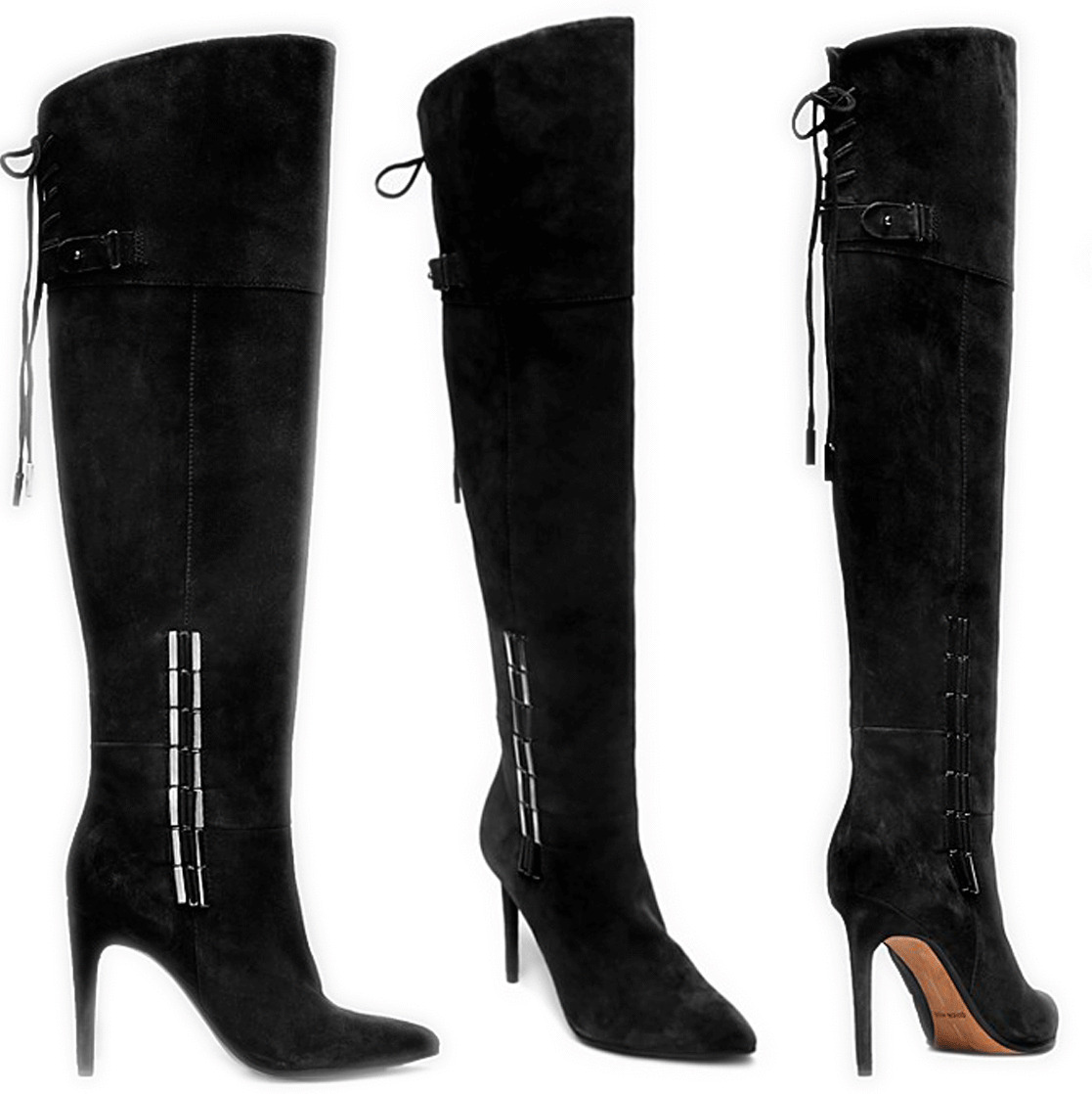 Dolce Vita Inara Over The Knee Pointy Toe Black Suede Boot Booties 8.5- 38.5
